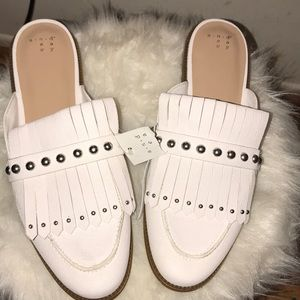 A new day studded fringe backless loafers mules